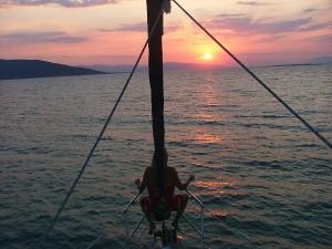 meditáció a naplemente előtt, Zadar vitorláshajó Horvát tengerpart